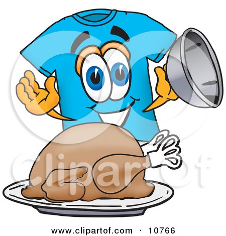 Clipart Picture of a Blue Short Sleeved T-Shirt Mascot Cartoon Character Serving a Thanksgiving Turkey on a Platter by Toons4Biz