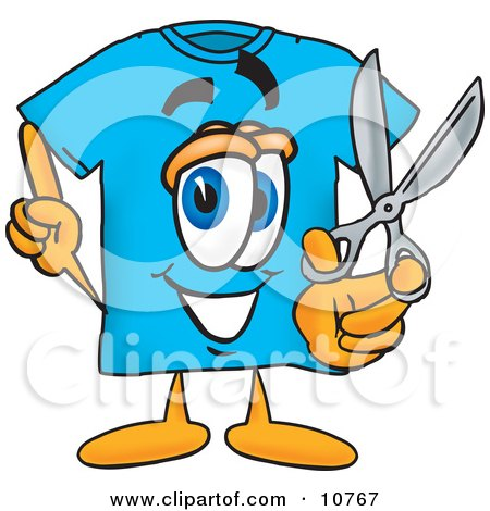 Clipart Picture of a Blue Short Sleeved T-Shirt Mascot Cartoon Character Holding a Pair of Scissors by Toons4Biz