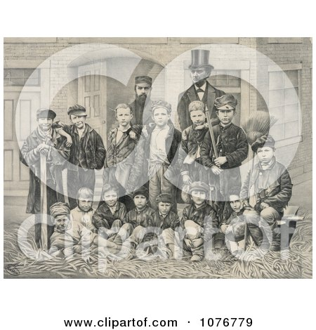 D.L. Moody And J.V. Farwell Standing Behind A Group Of 14 Boys On A Street In Front Of A Building - Royalty Free Historical Clip Art  by JVPD