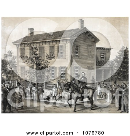 Villagers Greeting Abraham Lincoln On Horseback In Front Of His House In Springfield, Illinois - Royalty Free Historical Clip Art  by JVPD