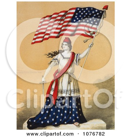 Woman, Portrayed as Lady Liberty, Holding a Sword and American Flag - Royalty Free Historical Clip Art  by JVPD