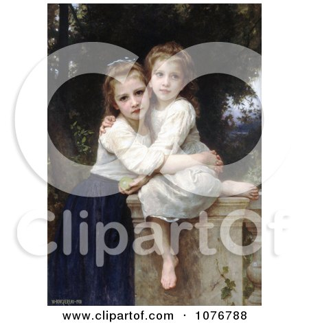Two Sisters Hugging on a Stone Wall, by William-Adolphe Bouguereau - Royalty Free Historical Clip Art  by JVPD