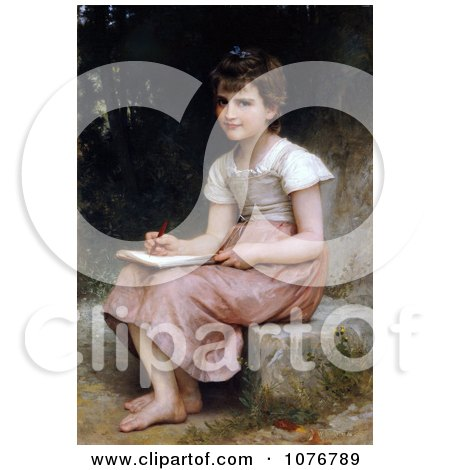 Little Girl Writing in a Journal, A Calling, by William-Adolphe Bouguereau - Royalty Free Historical Clip Art  by JVPD