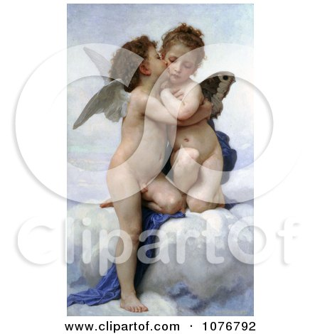 Cupid and Psyche as Children, Kissing, by William-Adolphe Bouguereau - Royalty Free Historical Clip Art  by JVPD