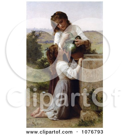 Girl Helping Her Sister Drink Water From a Jar, At the Fountain, by William-Adolphe Bouguereau Posters, Art Prints
