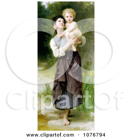 Girl Holding Her Brother, Brother and Sister by William-Adolphe Bouguereau - Royalty Free Historical Clip Art  by JVPD