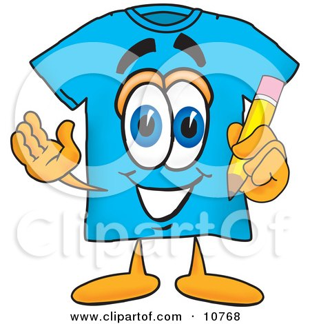 Clipart Picture of a Blue Short Sleeved T-Shirt Mascot Cartoon Character Holding a Pencil by Toons4Biz