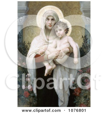 The Madonna of the Roses by William-Adolphe Bouguereau - Royalty Free Historical Clip Art  by JVPD