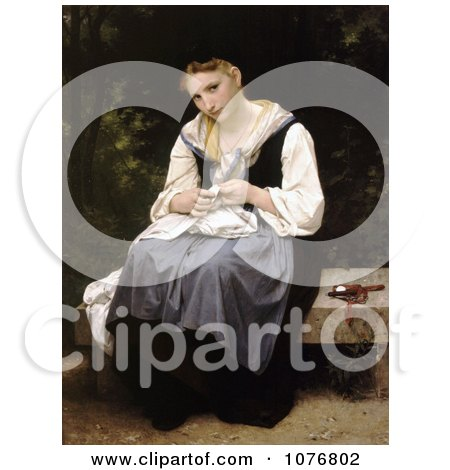 Woman Sewing While Sitting on a Bench, Young Worker by William-Adolphe Bouguereau - Royalty Free Historical Clip Art  by JVPD