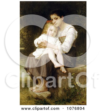 Girl Holding Her Little Sister, Big Sis by William-Adolphe Bouguereau - Royalty Free Historical Clip Art  by JVPD