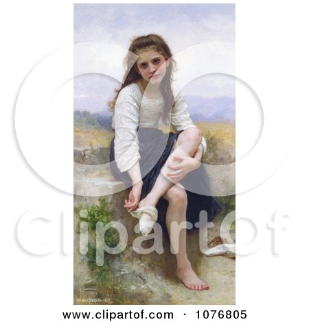 Little Girl Taking Her Socks Off, Before The Bath by William-Adolphe Bouguereau - Royalty Free Historical Clip Art  by JVPD