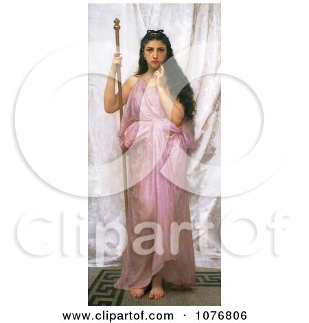 Woman Holding a Staff, Young Priestess, by William-Adolphe Bouguereau - Royalty Free Historical Clip Art  by JVPD