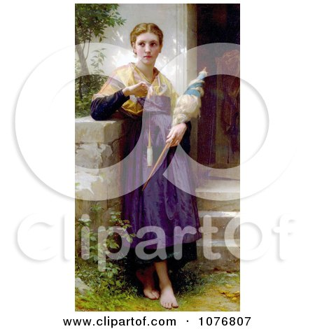 The Spinner by William-Adolphe Bouguereau - Royalty Free Historical Clip Art  by JVPD