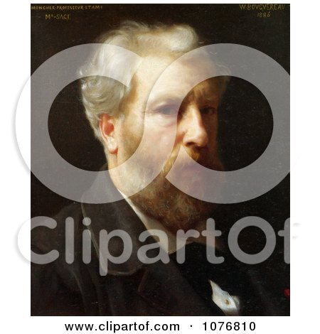 Self-Portrait Presented To M. Sage by William-Adolphe Bouguereau - Royalty Free Historical Clip Art  by JVPD