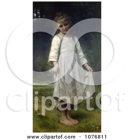 Girl Holding Her Dress Out, The Curtsey by William-Adolphe Bouguereau - Royalty Free Historical Clip Art  by JVPD