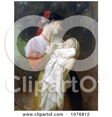 Photo of a Young Mother Holding Her Baby, Maternal Admiration by William-Adolphe Bouguereau - Royalty Free Historical Clip Art  by JVPD