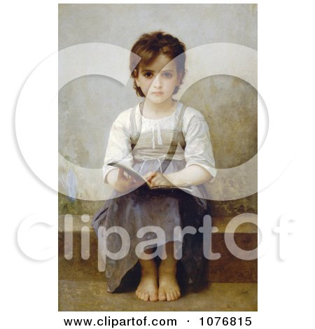Little Girl With an Open Book, the Difficult Lesson by William-Adolphe Bouguereau - Royalty Free Historical Clip Art  by JVPD