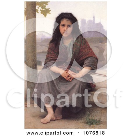 Girl With a Violin, the Bohemian by William-Adolphe Bouguereau - Royalty Free Historical Clip Art  by JVPD