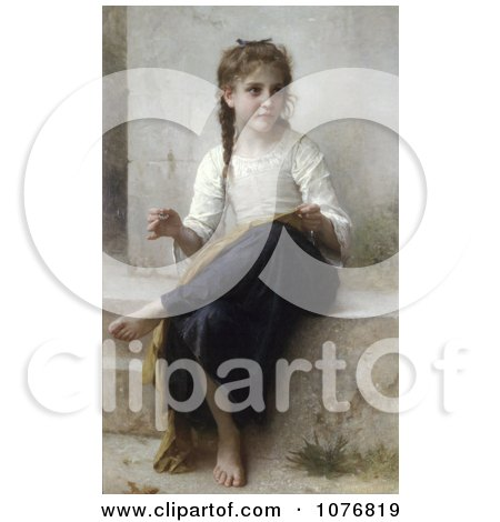 Little Girl Sewing by William-Adolphe Bouguereau - Royalty Free Historical Clip Art  by JVPD
