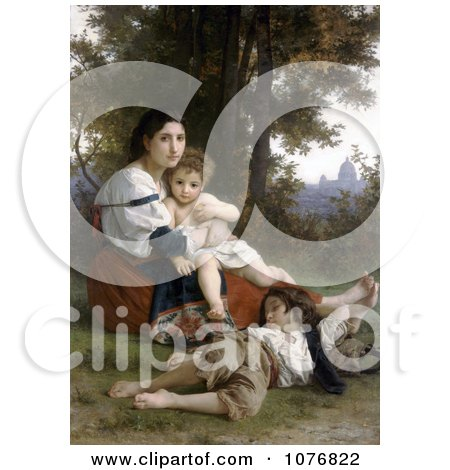 Woman and Her Two Children Resting by Trees, Rest by William-Adolphe Bouguereau - Royalty Free Historical Clip Art  by JVPD