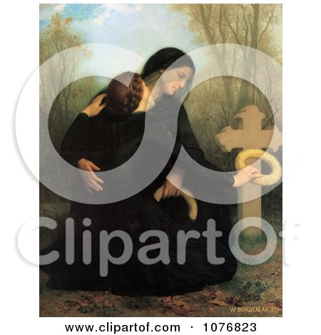 Two Women, One a Widow, Crouching at a Grave, the Day of the Dead by William-Adolphe Bouguereau - Royalty Free Historical Clip Art  by JVPD