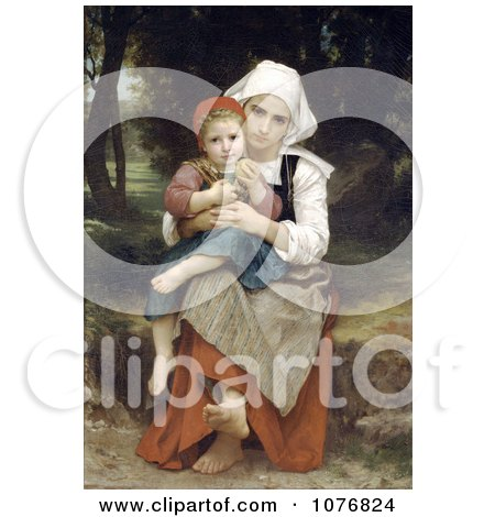 Breton Brother and Sister by William-Adolphe Bouguereau - Royalty Free Historical Clip Art  by JVPD