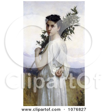 Young Woman Holding a Laurel Branch, by William-Adolphe Bouguereau - Royalty Free Historical Clip Art  by JVPD