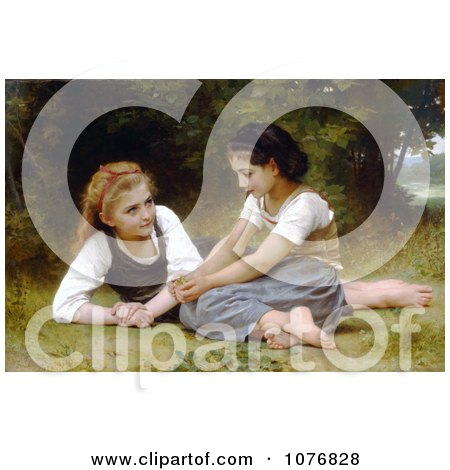 Two Girls Sitting in Grass, the Nut Gatherers by William-Adolphe Bouguereau - Royalty Free Historical Clip Art  by JVPD