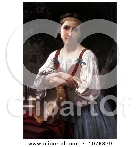 Girl Leaning on a Tambourine Instrument, Gypsy Girl with a Basque Drum by William-Adolphe Bouguereau - Royalty Free Historical Clip Art  by JVPD