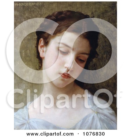 Sad Young Woman, Head of a Young Girl, by William-Adolphe Bouguereau - Royalty Free Historical Clip Art  by JVPD