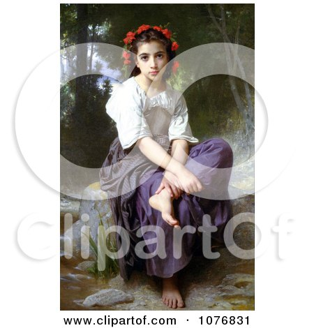 Little Girl With Flowers in Her Hair, Seated by a Stream, At the Edge of the Brook by William-Adolphe Bouguereau - Royalty Free Historical Clip Art  by JVPD