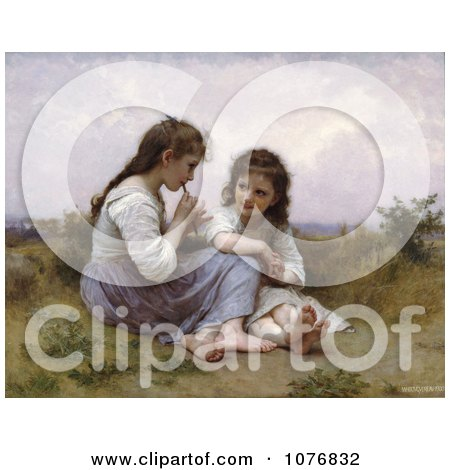 Two Little Girls Playing an Instrument, a Childhood Idyll by William-Adolphe Bouguereau - Royalty Free Historical Clip Art  by JVPD