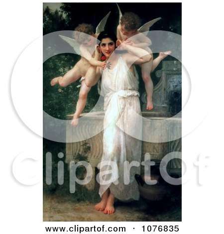 Cherubs With a Beautiful Young Woman, Youth by William-Adolphe Bouguereau - Royalty Free Historical Clip Art  by JVPD
