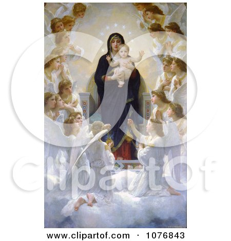 The Virgin With Angels by William-Adolphe Bouguereau - Royalty Free Historical Clip Art  by JVPD