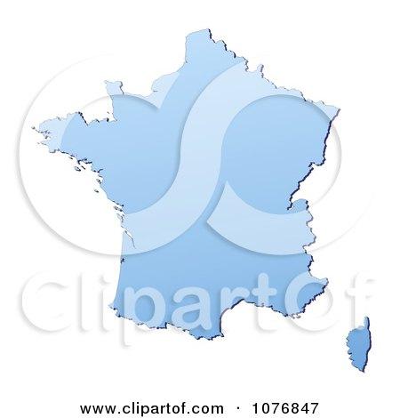 Clipart Gradient Blue France Mercator Projection Map - Royalty Free CGI Illustration by Jiri Moucka