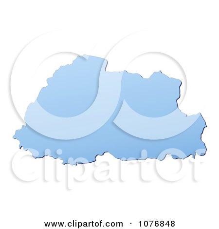 Clipart Gradient Blue Bhutan Mercator Projection Map - Royalty Free CGI Illustration by Jiri Moucka