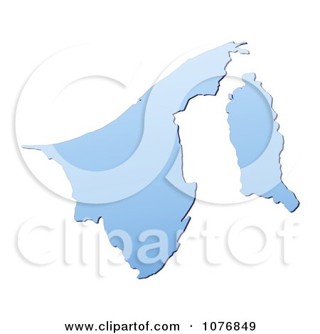Clipart Gradient Blue Brunei Mercator Projection Map - Royalty Free CGI Illustration by Jiri Moucka