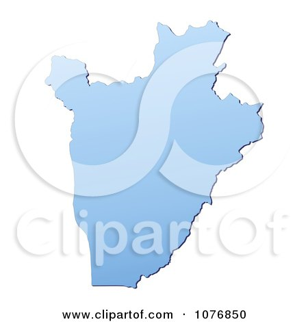 Clipart Gradient Blue Burundi Mercator Projection Map - Royalty Free CGI Illustration by Jiri Moucka
