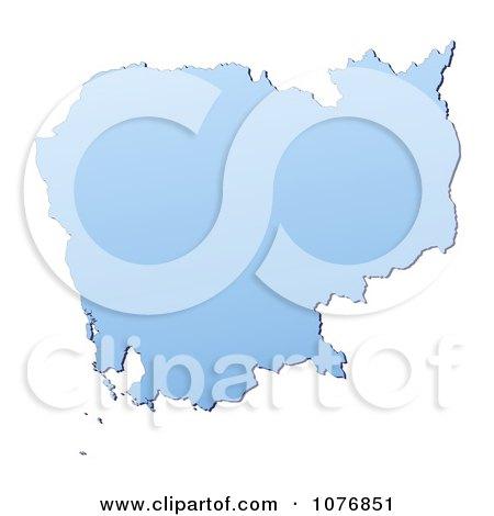 Clipart Gradient Blue Cambodia Mercator Projection Map - Royalty Free CGI Illustration by Jiri Moucka