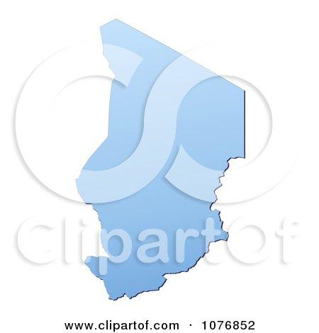 Clipart Gradient Blue Chad Mercator Projection Map - Royalty Free CGI Illustration by Jiri Moucka