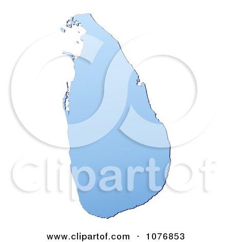 Clipart Gradient Blue Sri Lanka Mercator Projection Map - Royalty Free CGI Illustration by Jiri Moucka