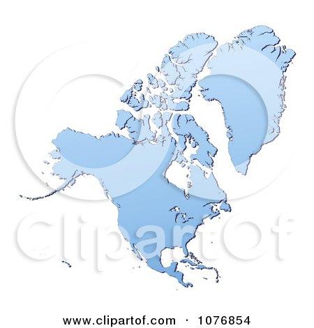 Clipart Gradient Blue North America Mercator Projection Map - Royalty Free CGI Illustration by Jiri Moucka