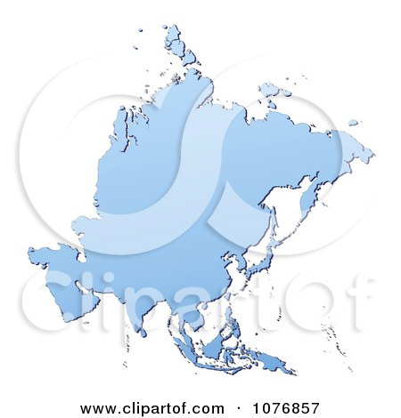 Clipart Gradient Blue Asia Mercator Projection Map - Royalty Free CGI Illustration by Jiri Moucka