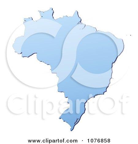 Clipart Gradient Blue Brazil Mercator Projection Map - Royalty Free CGI Illustration by Jiri Moucka