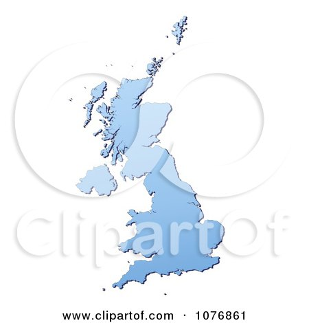 Clipart Gradient Blue United Kingdom Mercator Projection Map - Royalty Free CGI Illustration by Jiri Moucka