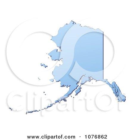 Clipart Gradient Blue Alaska United States Mercator Projection Map - Royalty Free CGI Illustration by Jiri Moucka