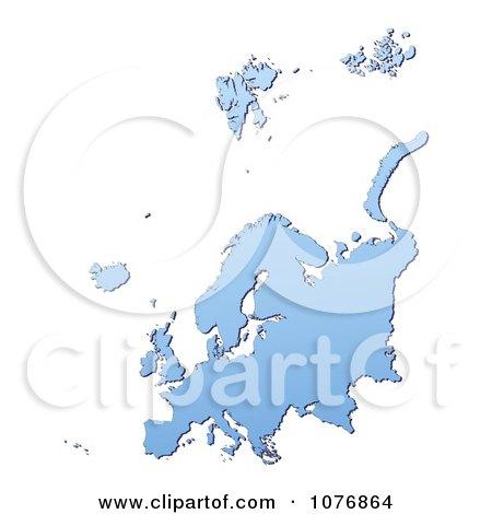 Clipart Gradient Blue Europe Mercator Projection Map 1 - Royalty Free CGI Illustration by Jiri Moucka