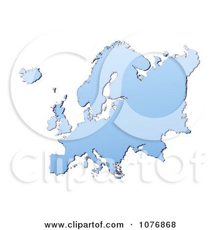 Clipart Gradient Blue Europe Mercator Projection Map 2 - Royalty Free CGI Illustration by Jiri Moucka