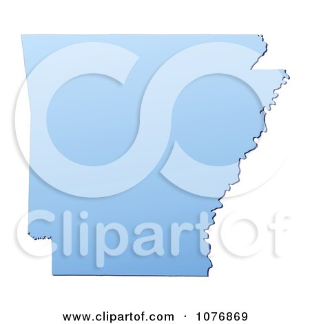 Clipart Gradient Blue Arkansas United States Mercator Projection Map - Royalty Free CGI Illustration by Jiri Moucka