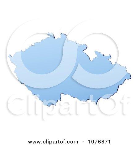 Clipart Gradient Blue Czech Republic Mercator Projection Map - Royalty Free CGI Illustration by Jiri Moucka